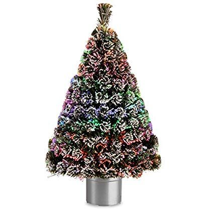 National Tree 48 Inch Fiber Optic Flocked Evergreen Tree With Multic Flocked Artificial Christmas Trees White Artificial Christmas Tree Flocked Christmas Trees