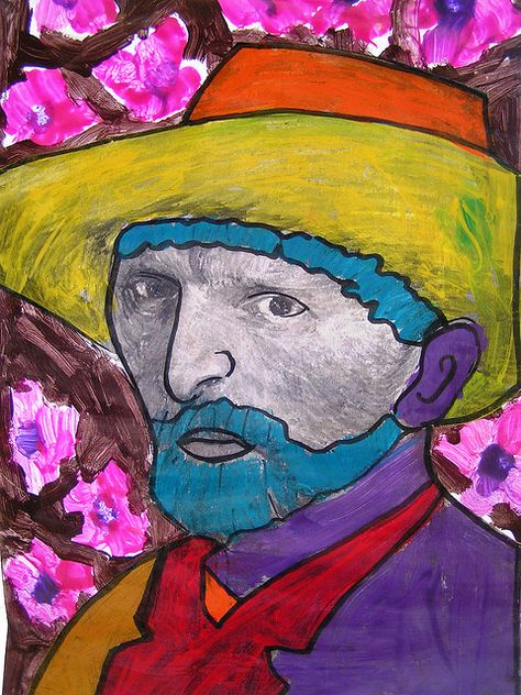 Could give laser prints of Van Gogh and have young kids color on top – Van Gogh style.