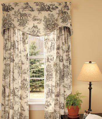 Lenoxdale Toile Tailored Curtains, Black Toile Curtains