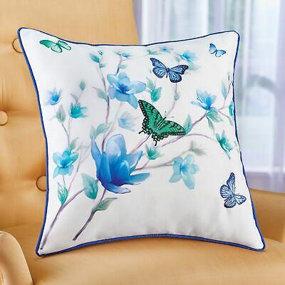 Blue & Green Butterfly Blossoms Accent Pillow #fashion #home #garden #homedcor #pillows (ebay link)