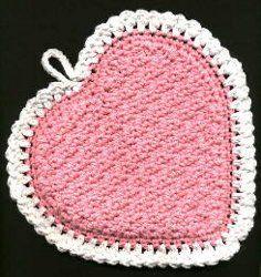 Heart potholder, hotpad and dishcloth - crochet free pattern