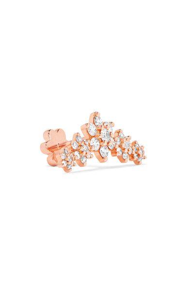 Maria Tash Flower 18-karat Rose Gold Diamond Earring jFkvQu