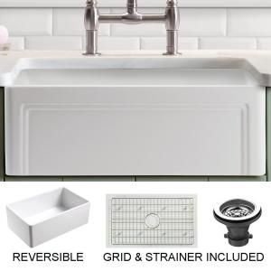 Olde London Farmhouse Fireclay 24 In Single Bowl Kitchen Sink With Grid With Grid And Strainer In 2020 Farmhouse Sink Kitchen Drop In Kitchen Sink Apron Sink Kitchen