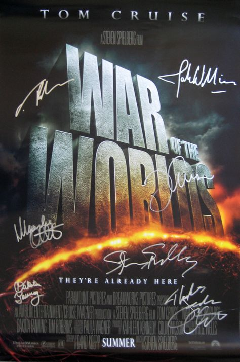 War of the Worlds (2005) original 27x40 movie poster cast signed by
