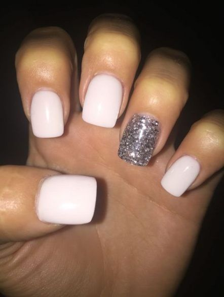 58+ ideas nails white acrylic glitter for 2019