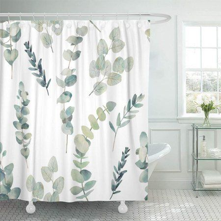 Ksadk Green Leaf Watercolor Eucalyptus Branches Hand Floral With Plant Objects On White N In 2020 Bathroom Shower Curtains Fabric Shower Curtains Green Shower Curtains