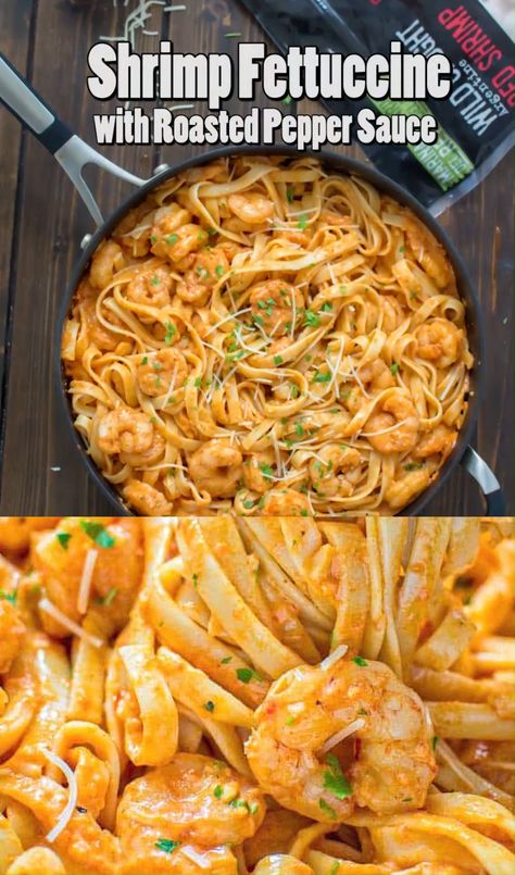 This elegant and so-incredibly-tasty Shrimp Fettuccine with Roasted Pepper Sauce is going to knock your socks off… If I have to pick one dish to have for dinner every single night for the rest of my life, I think I would pick this one. That's right! It's THAT GOOD! FOLLOW Cooktoria for more deliciousness! #shrimp #seafood #pasta #dinner #Lunch #easyrecipe #cooktoria