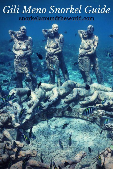 Where to snorkel in Gili Meno? The best snorkeling spots in Gili Meno. Gili Islands Snorkeling. #gili #gilis #thegilis #gilimeno #underwaterphoto #underwatersculpture #snorkeling