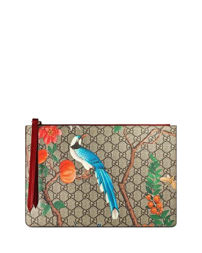 9b6e54a88460 Gucci Embroidered Bee and Blind For Love Large Zipped Pouch Clutch Bag  431416 GG Supreme Brown 2017   Gucci Bags & Purses 2017 Collection in 2019    Gucci ...