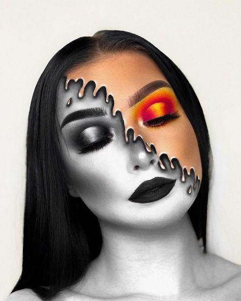 50 halloween makeup ideas you will love halloween make up ideen neue ideen Fire Makeup, Eye Makeup Art, Colorful Eye Makeup, Sfx Makeup, Clown Makeup, Face Paint Makeup, Makeup Brushes, Zombie Makeup, Eye Art