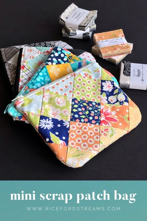 Perfect Gift: Mini Scrap Patch Bag Make a zippered patchwork pouch from one mini charm pack and a fat quarter. The video tutorial makes it easy! Use a pouch to hold treats and a gift card. Sewing Hacks, Sewing Tutorials, Sewing Crafts, Sewing Tips, Bag Tutorials, Patchwork Fabric, Fabric Scraps, Scrap Fabric, Quilting Fabric