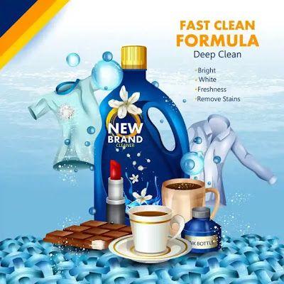 تحميل تصاميم إعلانات تجارية لتنظيف الملابس قابلة للتعديل هارد المصمم العملاق Fast Cleaning Laundry Detergent Packaging Design