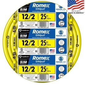 Romex Simpull 25 Ft 12 2 Non Metallic Wire By The Roll Lowes Com Copper Electrical Wire Wire Metal