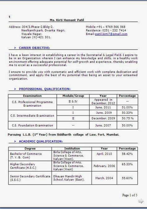 best resume format sample Excellent Curriculum Vitae \/ CV Format - best resume format for freshers