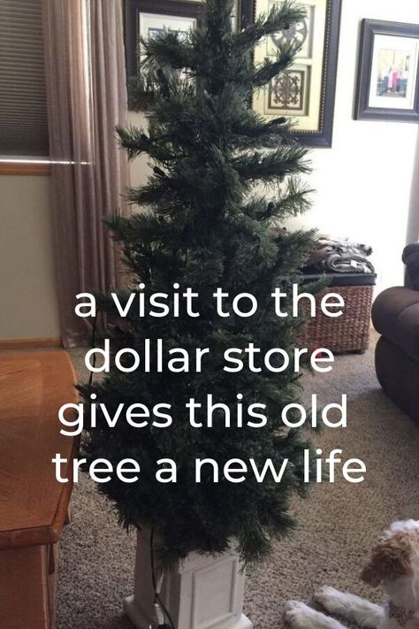 Give your old outdoor Christmas tree an easy and cheap update with dollar store decorations on a Budget. Dollar store Christmas tree decorations on a budget. #hometalk