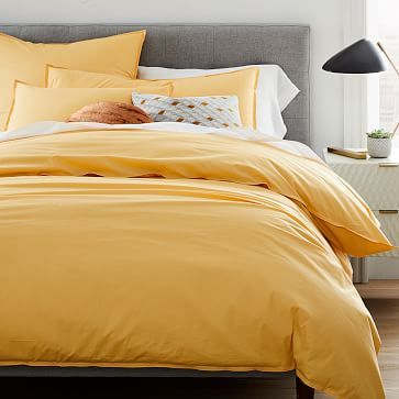 Organic Washed Cotton Percale Duvet Cover Shams Yellow Bedding Duvet Covers Yellow Bedroom Decor