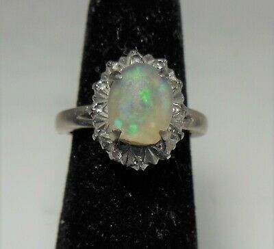 Ad Ebay Link 10k White Gold Opal Diamopnd Ring Opal Ring Gold White Gold