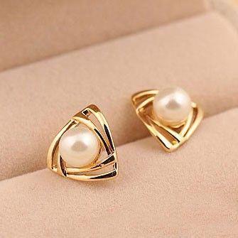 Fashion Femme or jaune rempli Heart Crystal Pearl Dangle Boucles d/'oreilles Clou