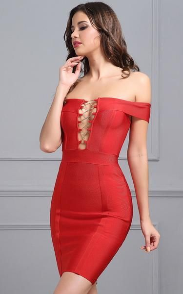 3957a65f12 A stunning red off-the-shoulder bandage dress. The deep plunge lace-up front  is hot