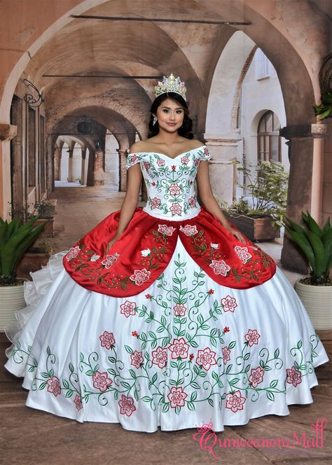 Charro Dress with Embroidered Roses #10194