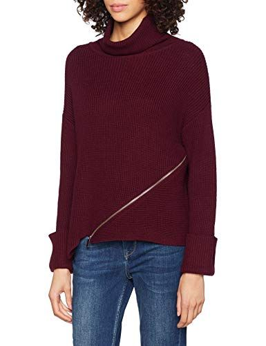 New Womens knitted burgundy cable knit  v neck jumper top size 10 12 14 16 18