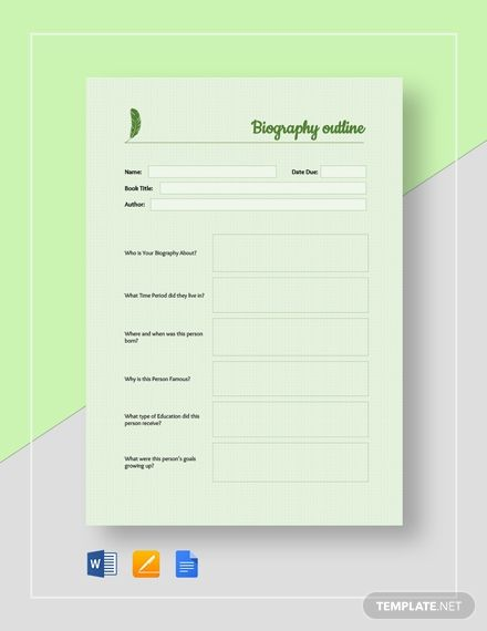 Basic Biography Outline Outline Templates Biography
