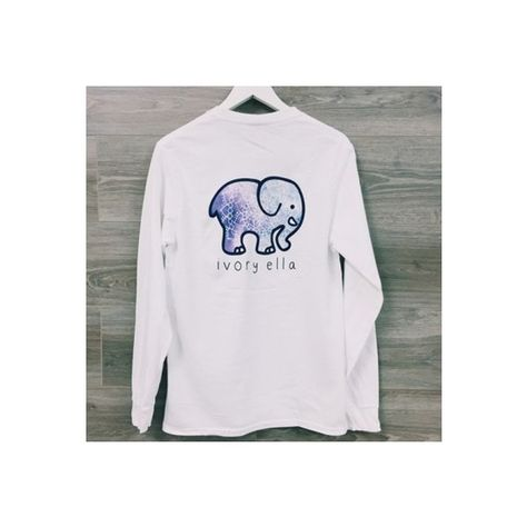 a3c94f2b60c4 White Ivory Ella Elephant Pocket Print Long Sleeve Cute Casual T-Shirt  ( 12) ❤ liked on Polyvore featuring tops and t-shirts