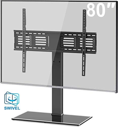 Best Seller Fitueyes Universal Tv Stand Base Swivel Tabletop Tv Stand Mount 50 80 Inch Flat Screen Tv 100 Degree Swivel 4 Level Height Adjustable Tempered G In 2020 Universal Tv Stand Tv
