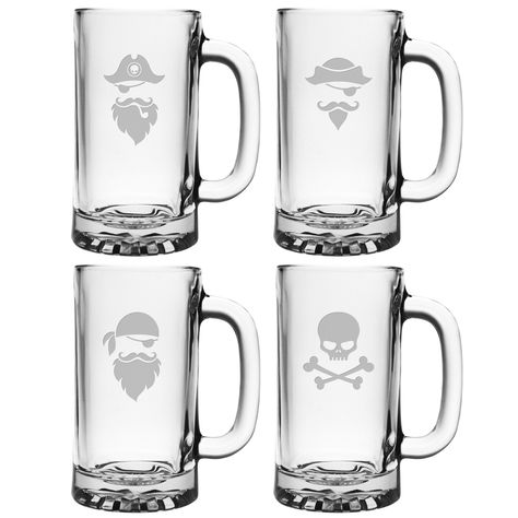 Pirate Faces Pub Beer Mugs (Set of 4) (Pirate Faces Pub Beer Mugs, 16oz, S/4), Clear, Susquehanna Glass(Glass)