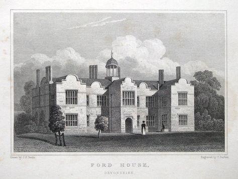 Ford Forde House Newton Abbot Devon Original Antique Print 1831