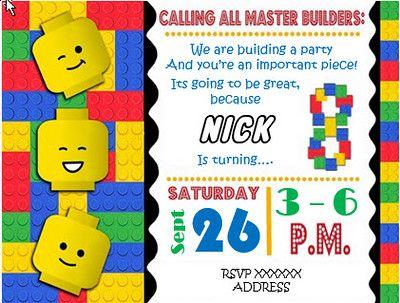 Lego Party Invitation Lego Birthday Invitations Lego Party Invitations Lego Invitations