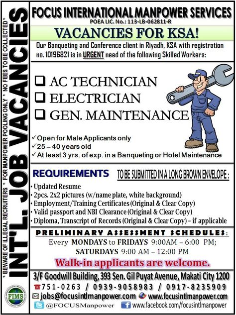 Urgent Job Vacancies Open For Skilled Workers Bound For Riyadh