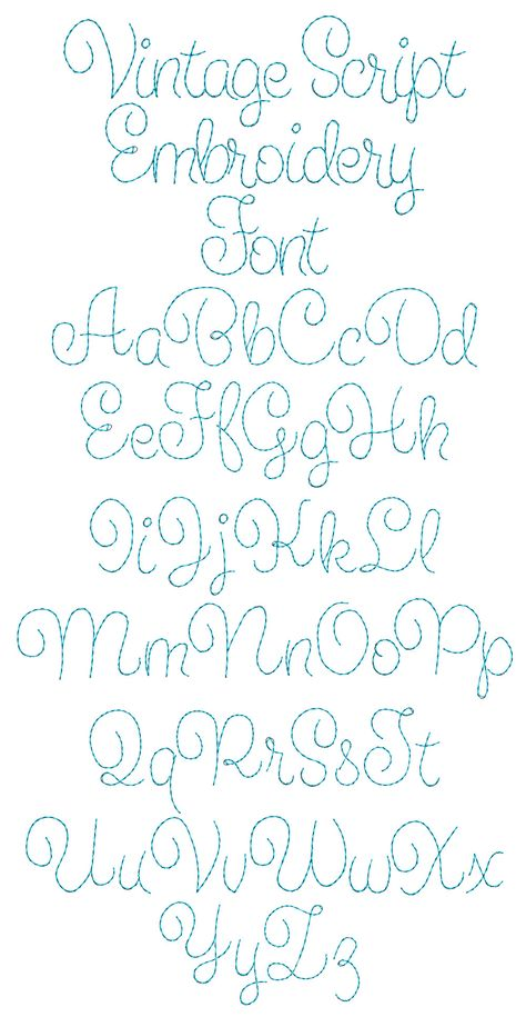 Vintage Embroidery Ideas Vintage Script Embroidery Font Machine Embroidery Designs by JuJu - Hand Embroidery Letters, Hand Embroidery Patterns Free, Embroidery Stitches Tutorial, Simple Embroidery, Embroidery Transfers, Embroidery Fonts, Machine Embroidery Designs, Embroidery Ideas, Crewel Embroidery