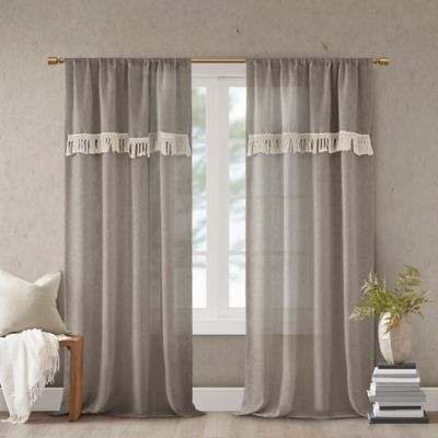 Madison Park Brynn 95 Rod Pocket Window Curtain Panel In Taupe