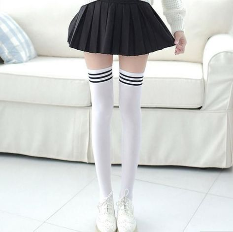 1 Pair Girls Student School Socks Fashion Stockings Casual Thigh High Over Knee High Socks Girls Womens Female Long Knee Sock Knee Socks Outfits, Knee High Socks Outfit, Black Thigh High Socks, Thigh Socks, Lace Socks, Bodysuit Lingerie, Girls Socks, Bra And Panty Sets, Kawaii Clothes