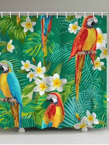 Plumeria Parrot Printed Bathroom Shower Curtain Plant Print