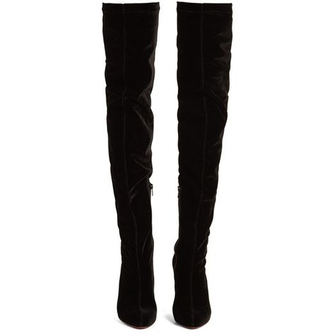 4a8633ad9ad Christian Louboutin Classe 100mm over-the-knee velvet boots (4.712.745 COP)  ❤ liked on Polyvore featuring shoes