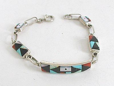 Zuni Handmade Sterling Silver Turquoise Inlay Link Bracelet