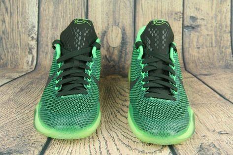 NIke Kobe X 10 Vino GS Poison Green Black Basketball Shoes 726067-333 Size 6Y