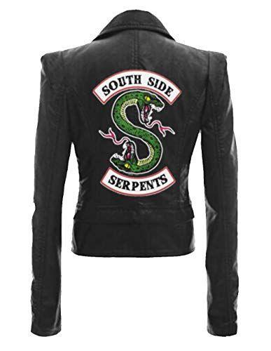 Riverdale Southside Serpents Bande Noir Hommes Veste Motard Cuir
