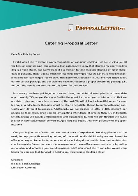 Need help to write catering letter proposal? see these samples and - catering quotation sample