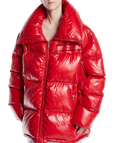 af6ee1275 Calvin Klein Zip-Front Quilted Puffer Jacket in 2019 | shiny down ...