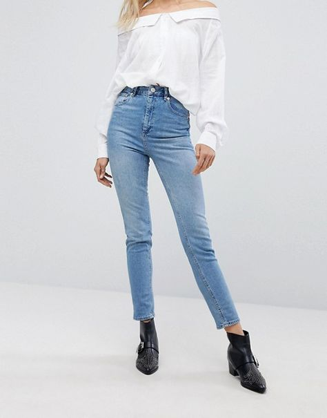 ee7a06d2f5b01f DESIGN Farleigh high waisted slim mom jeans in light stone wash | f ...