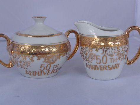Vtg Norcrest 22k Golden 50th Anniversary Cream Sugar Set Japan