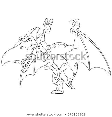 Coloring Page Cartoon Pterodactyl Dinosaur Vector Illustration