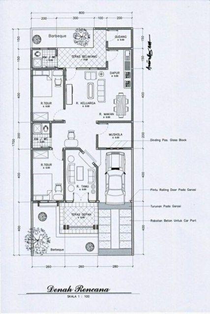 Denah Rumah Ukuran 15x20 : denah, rumah, ukuran, 15x20, Ideas, Apartment, Floor, Dimensions, Plan,, Design, Plans,, House