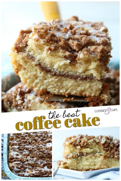 The VERY Best Coffee Cake Recipe ever is moist and buttery, with a cinnamon sugar layer in the middle topped with crumb topping and a sweet glaze icing. Grab a cup of coffee and enjoy! #cookiesandcups #coffeecake #crumbcake #cinnamonsugar #cakerecipe #cinnamoncake #breakfast #brunch