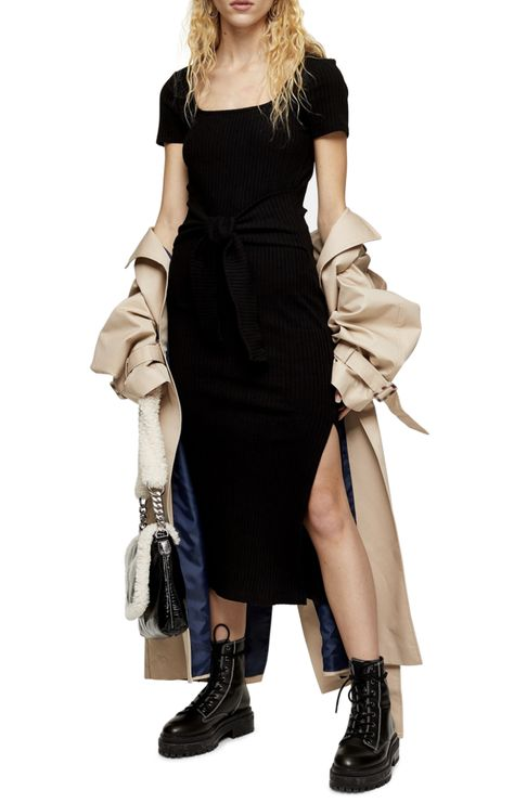 Topshop Rib Knit Tie Waist Maxi Dress