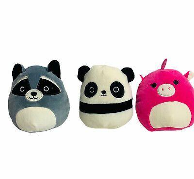 Squishmallow Plush Lot Of 3 Randy Raccoon Prince Pug Stanley Panda Kellytoy 5 Pugs Raccoon Panda