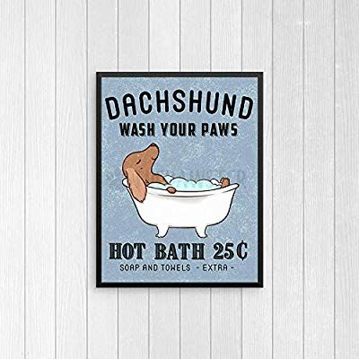 Amazon Com Timprint Dachshund Bathroom Wall Decor Wiener Dog Funny Bathroom Art Print Wall Art Bathroom Signs Dog Funny Bathroom Art Dog Bath Wiener Dog Humor